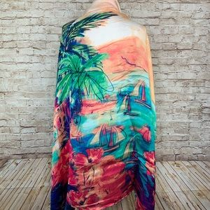 Chico's tropical harbor square scarf silk blend